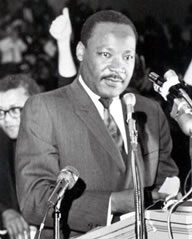 Dr. King, 39, speaks at Mason Temple in Memphis on April 3, 1968, the day before his assassination.