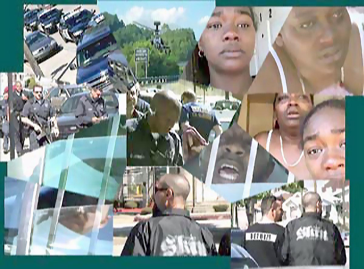 This montage is composed of stills from a camcorder of an all-day raid on Malaika's next door neighbors in early 2008. The bald cops at the bottom of the image were real skinhead skip tracers. – Photo: Malaika Kambon