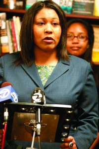 Supervisor London Breed spoke out strongly for saving Marcus Books, the nation's oldest Black book store, at a press conference there on June 10, 2013. Now that Marcus Books has been evicted from its historic home, she is pledging to continue to support its reopening. – Photo: Malaika Kambon
