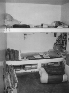 This cell, D1-119 in the Pelican Bay SHU, was Todd's home for many years. He would transform his bed into a desk in the daytime.