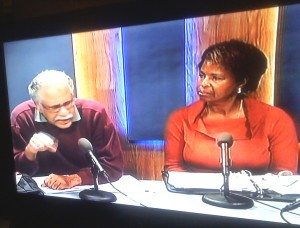 Dr. Ray Tompkins and Shirley Moore discuss Lennar's Candlestick implosion proposal on TV. – Photo: Rochelle Metcalfe