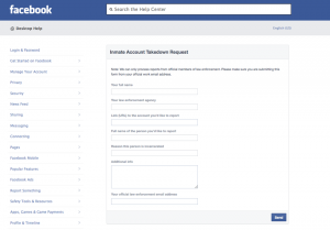 Facebook Inmate Takedown Request