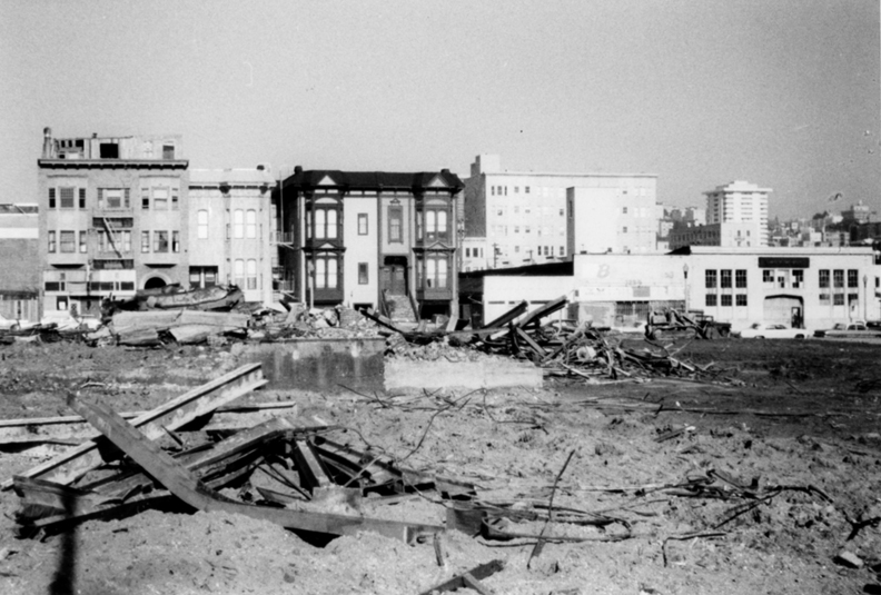In effect, the San Francisco Redevelopment Agency declared war on the Black community, leaving the Fillmore looking like a World War II war-ravaged city. – Photo: SF Redevelopment Agency