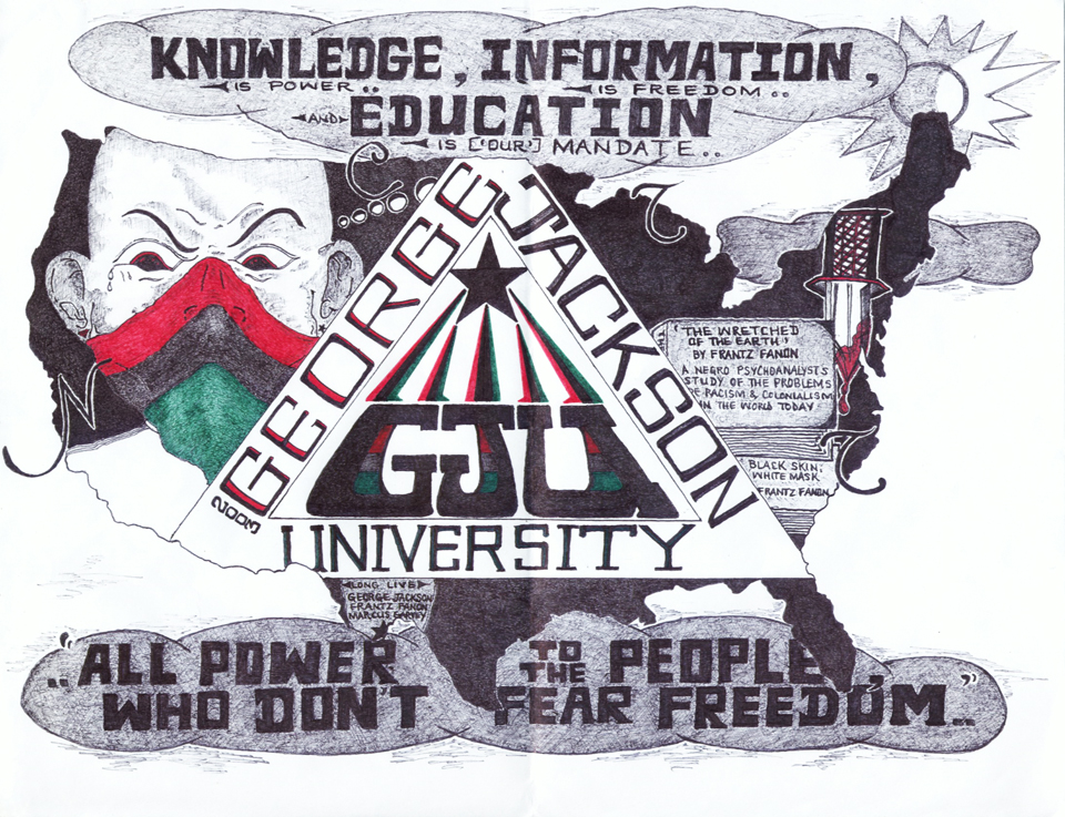 The idea of learning about their own history and culture made George Jackson University so popular when it was first organized several years ago that 25,000 Black prisoners immediately signed up. But prison authorities moved immediately, too, not to support but to erase the concept and, at about the same time, the GJU records were destroyed by fire. Now GJU is being reorganized mainly as a source of literature. To learn more and get involved, write to Abdul Olugbala Shakur, s/n J. Harvey, C-48884, CSP Cor SHU 4B-1L-19, P.O. Box 3481, Corcoran CA 93212. – Art: Damu Katika Chimurenga, s/n Hayward L. Mayhan, P-60322, 4A-2L-6L, P.O. Box 8800, Corcoran CA 93212