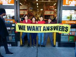 Asians4BlackLives shut down the main entrance to Home Depot in Emeryville for five hours. – Photo: Bay Solidarity