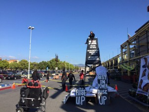 Justice-for-Yuvette-Henderson-watch-tower-altar-outside-Home-Depot-Emeryville-022115-by-Alyssa-300x225, Black Lives Matter activists shut down Emeryville Home Depot for 5 hours, demand answers in police murder of Yuvette Henderson, Local News & Views
