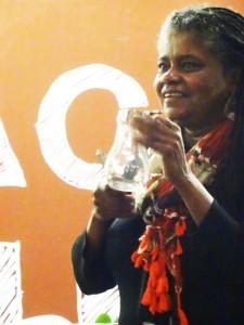 Musician, composer, educator Angela Wellman accompanied violinist Tarika Lewis Omni Gallery reception 0115 by Wanda