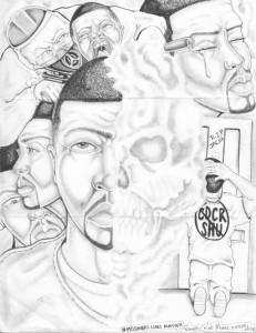 """""""Prisoners' Lives Matter"""" – Art: Roger """"Rab"""" Moore, G-02296, HDSP Z-168, P.O. Box 3030, Susanville CA 96127"""