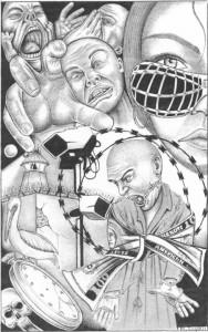 """""""SHU Madness"""" – Art: Michael D. Russell, C-90473, PBSP SHU D7-217, P.O. Box 7500, Crescent City CA 95532"""