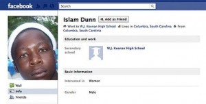 According to the Associated Press, this is the Facebook page of a South Carolina prisoner. It is no longer on Facebook, and there's no record of his punishment.