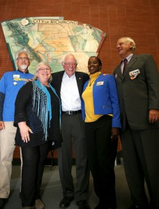 Team Richmond, the progressive candidates in the November election, packed the Richmond Memorial Auditorium for a campaign rally headlined by U.S. Sen. Bernie Sanders on Oct. 16, 2014. From left are Eduardo Rodriguez, Gayle McLaughlin, Sanders, Jovanka Beckles and Tom Butt, the new mayor. Rodriguez was elected and McLaughlin and Beckles re-elected to the City Council. – Photo: Malaika Kambon