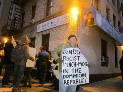 The organization We Are All Dominican protests outside the office of City Councilman Ydanis Rodriguez, a Dominican, on Feb. 12, demanding he denounce racist oppression of Haitians living in the DR, many for generations.