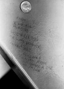 "As Aaron Patterson was being tortured by Lt. Jon Burge's goons, he recanted his ""confession"" with this statement that he scratched into the paint on the underside of the table. Aaron is one of 20 survivors still in prison. The vast majority have received no compensation or counseling."