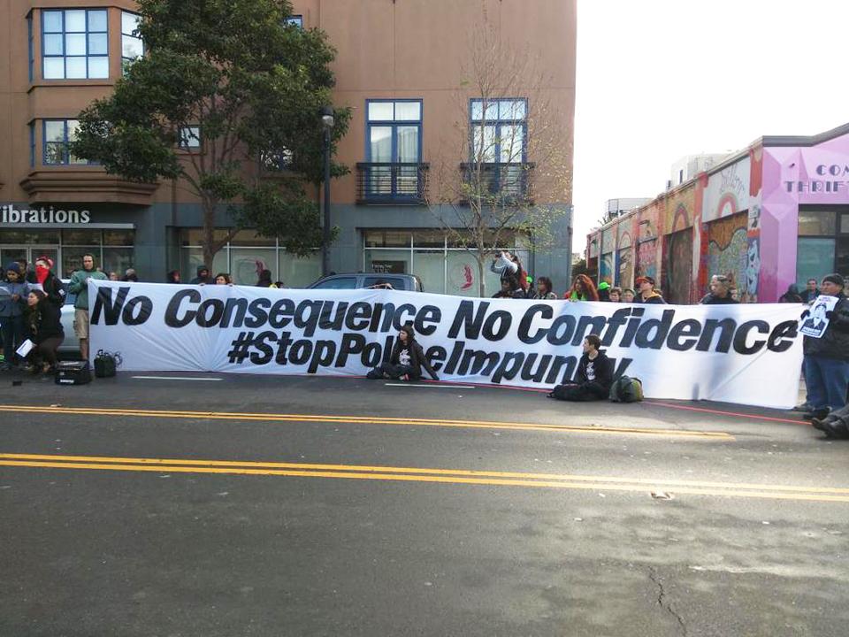 Alex-Nieto-1st-SFPD-murder-anniversary-No-Consequence-No-Confidence-Mission-Police-Stn-032315-by-Justice4AlexNieto-Twitter1, Community shuts down Mission Station, puts police on trial on anniversary of Alex Nieto's SFPD murder, Local News & Views