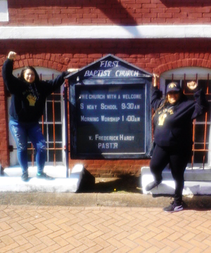 """Alex Berliner and Marilyn Austin-Smith cavort at the First Baptist Church where Martin Luther King gave his famous speech, """"Enough Is Enough."""" All of Us or None members convened a panel there on campaigns for voting rights and Ban the Box by formerly incarcerated people."""