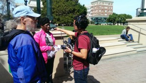 Marie Levin, outspoken sister of Sitawa Nantambu Jamaa, one of the four main hunger strike reps and co-author of the Agreement to End Hostilities, is interviewed by the press.
