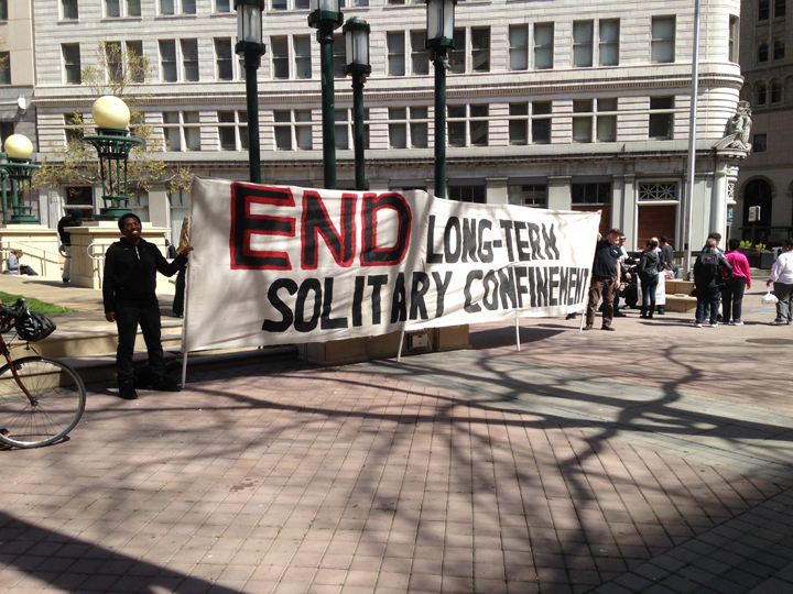 Oakland's action was in Oscar Grant Plaza, 14th and Broadway, the scene of many, many struggles for justice in recent years. Readers are urged to come out in droves on April 23 and the 23rd of every month. We may not be able to rid the world of all evils, but we CAN end solitary confinement!
