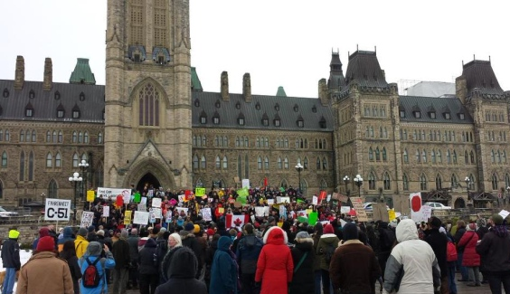 Canadians protest the pending Anti-Terrorism Act of 2015 on Parliament Hill in Ottawa, Ontario, the Canadian capital.