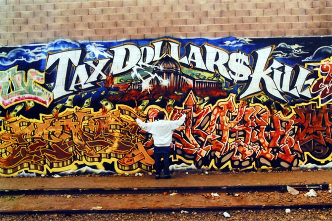 """TDK, which originally stood for Those Damn Kids, describing Mike """"Dream"""" Francisco's crew, later morphed into Tax Dollars Kill as Mike matured. His surviving murals are strictly off-limits to tagging by other graffiti writers."""