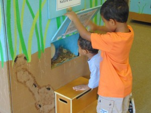 Isaiah, age 5, and Marcelo, 3, check out a display at Nature Preserve.