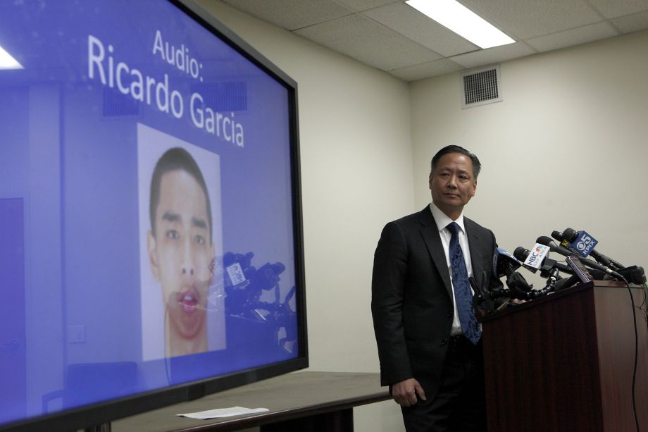 At his March 26 press conference, Public Defender Jeff Adachi plays the recording of his interview with Ricardo Palikiko Garcia, a 150-pound Hawaiian and Filipino man, the smallest and only Asian in his pod at San Francisco County Jail, who was forced into gladiator fights with Stanly Harris, a 350-pound African-American man, the largest man in the pod, though neither wanted to fight. Garcia believes the deputies' intent in forcing the fights was not only to entertain themselves as they gambled but to stir up racial animosity among prisoners. – Photo: Santiago Mejia, SF Chronicle