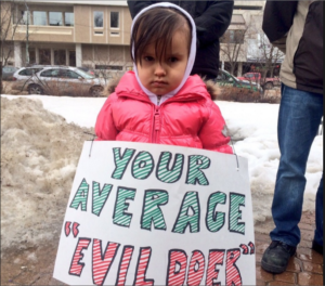 A young Canadian protests the Anti-Terrorism Act of 2015 in Saskatoon, Saskatchewan, on March 14, 2015.