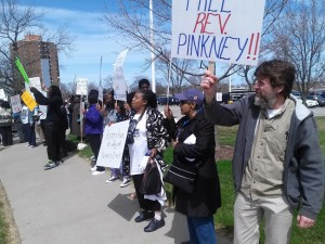 Rev. Pinkney's supporters rallying at the Berrien County courthouse after the hearing are determined to win his freedom. He was convicted and sent to prison on the ridiculous charge of election fraud by an all-white jury that was shown no evidence of the charges. – Photo: Abayomi Azikiwe