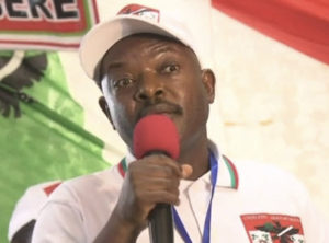 Burundi's President Pierre Nkurunziza accepts his party's nomination for a third term, on April 25, 2015.