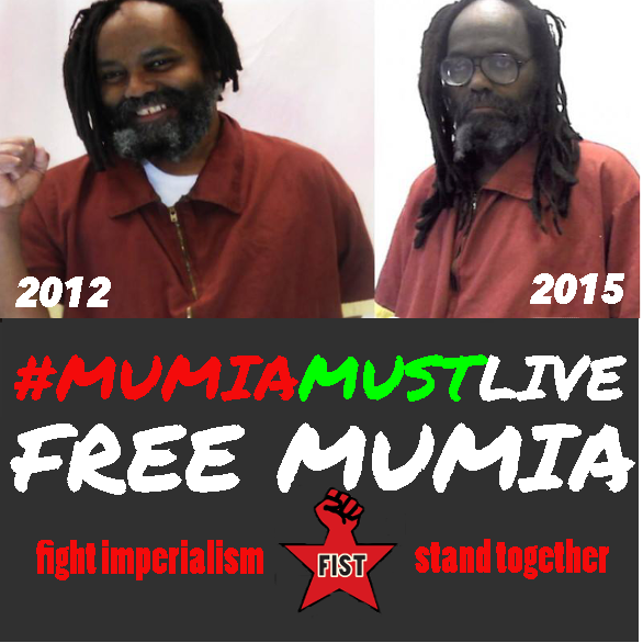 """This poster, showing how Mumia's appearance has changed drastically from 2012 to 2015, is being used by FIST to organize rallies for his 61st birthday in Philadelphia on April 24, 4 p.m., at 15th and Market; in Boston on April 26, 2 p.m., at the screening of """"Mumia: Innocent and Framed"""" at 284 Amory St., Jamaica Plain; and in Rockford, Illinois, April 24, 1-2 p.m., at the Rockford Downtown Jail."""