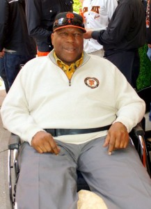 At the Giants' home opener April 13, Willie McCovey held court. – Photo: Harrison Chastang