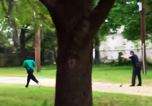 Officer Slager fires eight shots at Walter Scott, hitting him in the back as he runs away, fearful of arrest.
