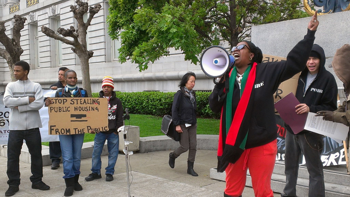 'Stop stealing public housing from the public' protest SF City Hall by PNN