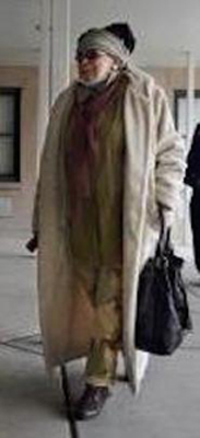 Wadiya Jamal leaves the hospital after her hard-won visit to Mumia on Tuesday, March 31, 2015.