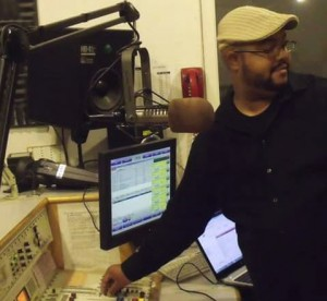 Wesley Burton at work in a KPFA studio