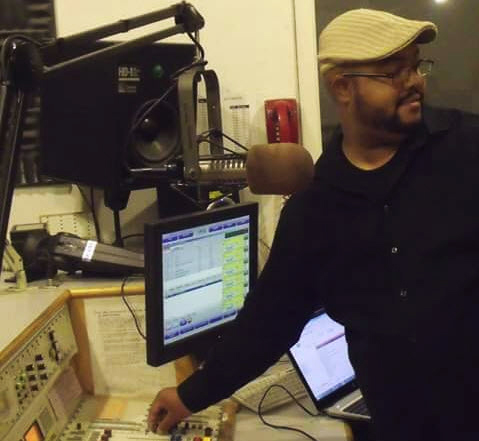 Wesley Burton at work in a KPFA studio