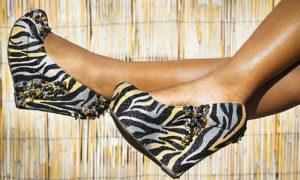 2Dollz jeweled zebra wedge shoes