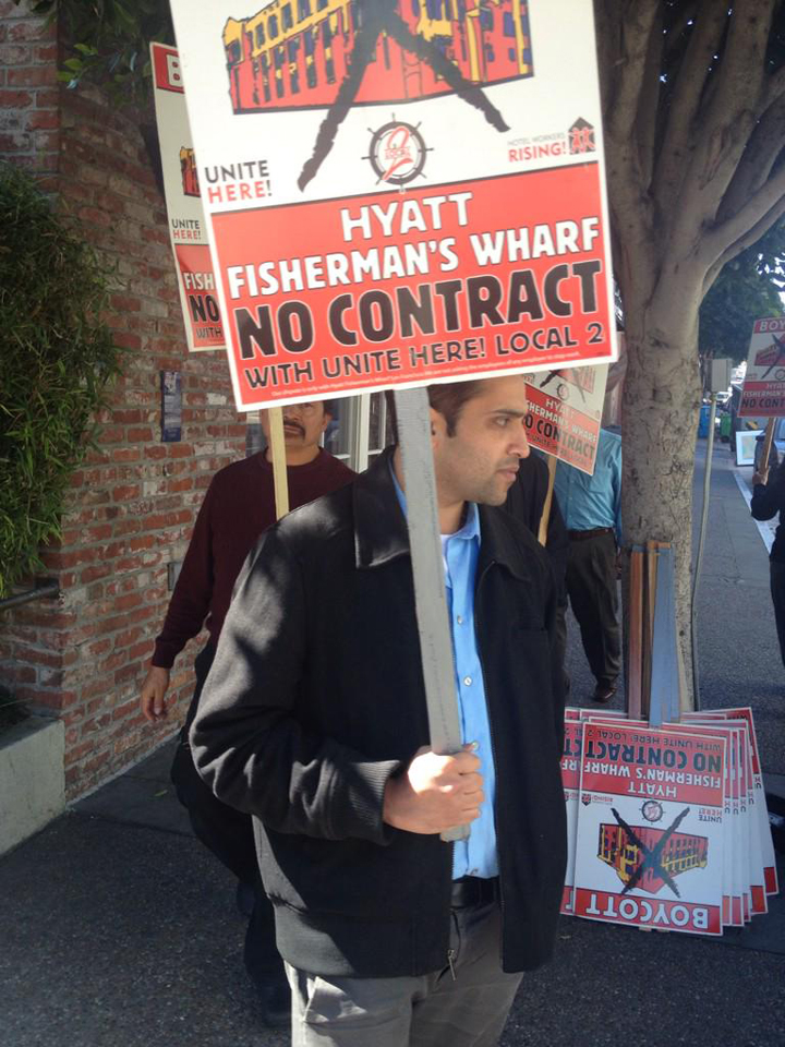 Anand Singh walks the picket line with Local 2.