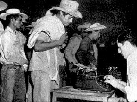 In 1942, when this photo was taken of Mexican workers being recruited, the United States signed the Bracero Treaty, which reopened immigration until 1964 for millions of Mexican workers to work temporarily on contract to United States growers and ranchers.