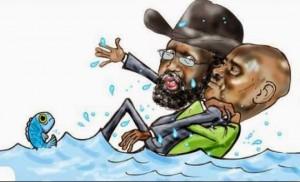 A cartoonist's view of Ugandan President Yoweri Museveni keeping South Sudanese President Salva Kiir afloat