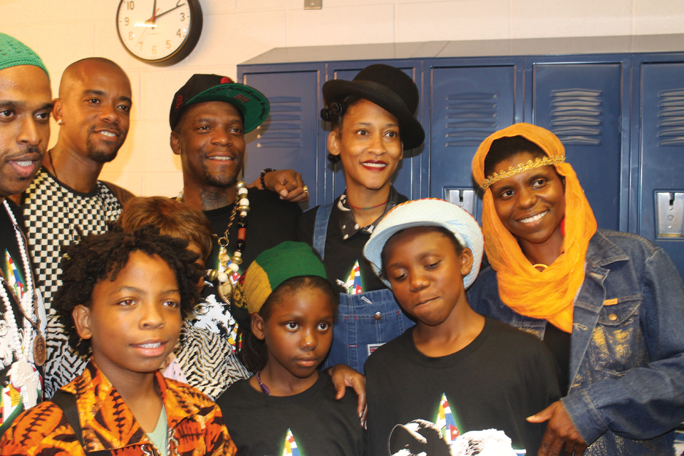 """Playing major roles in the Cuban 5 concert, in addition to Obi Egbuna and Stic Man and M1 of dead prez, are the 12-year-old photographer for the show Amoa Salaam, Sister Anjahla, who performed at the concert with Roots Radics and sang """"A Mighty Road"""" on the second album, and Renee Flood-Wright of Red Lantern Photography. Amoa Salaam, a student of Obi's in his Mass Emphasis Children's History and Theater Company, also recited """"Your Spirit Soars Through the Sky,"""" a tribute to Samora Machel. – Photo: Amoa Salaam"""