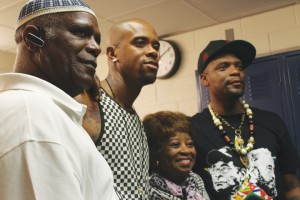 Brother Pete of the International Hip Hop Association joins Stic Man, Ma Dukes, mother of the late legendary producer J Dilla, and M1 at the concert in June 2014. – Photo: Amoa Salaam
