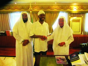 On Young Malcolm's Hajj, when the word got out that he was the grandson of El Hajj Malik El Shabazz – Malcolm X – he was given a tour usually reserved for world leaders, to places the public never sees. Here he meets with Sheikh Saleh Husain, president of the Grand Mosque and Prophet's Mosque.