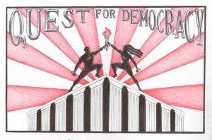 """Quest for Democracy"" logo – Art: J. Heshima Denham, J-38283, Cor-SHU, 4B-1L-25, P.O. Box 3481, Corcoran CA 93212"