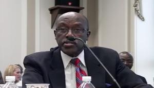 Rwanda's designated representative Willis Shallta responding to Rep. Karen Bass