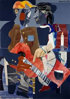 """Serenade"" – Collage and paint on panel: Romare Bearden"
