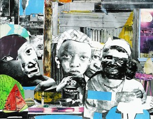 """The Train"" – Collage on paper: Romare Bearden"