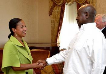 U.S. National Security Advisor Susan Rice greets Ugandan President Yoweri Museveni in New York City on May 5, 2015.