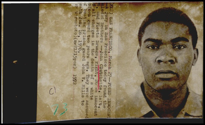 """This Associated Press wirephoto dated March 27, 1972, pictures John Clutchette and reports that he and Fleeta Drumgo were found """"innocent of all charges in the death of a white prison guard two years ago."""""""