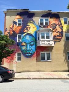 Baltimore mural: Malcolm X, Nina Simone and James Baldwin
