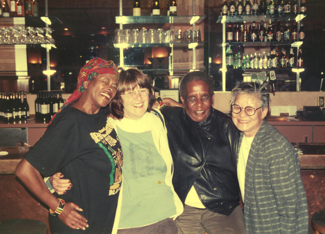 These are four of the Seven Samurai – Essie Mormen, Blanche Bebb, Margaret Block and Shirley Enomoto – at Delancey Street Restaurant in 2001.